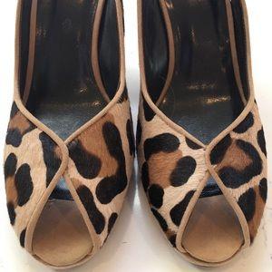 Stuart Weitzman Peep Toe Cheetah Print Slingback
